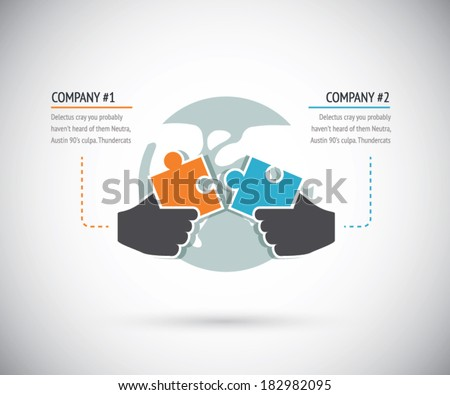 Puzzle pieces connecting with two businesses for cooperation. Infographic vector concept. - stock vector