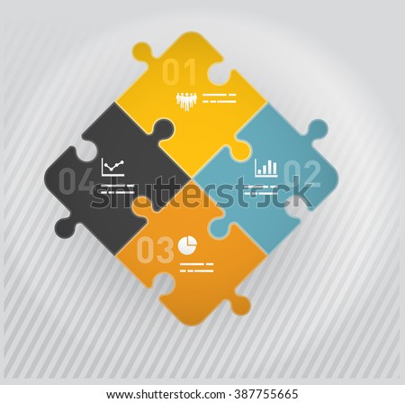 Puzzle pieces diagram with four matching elements - stock vector