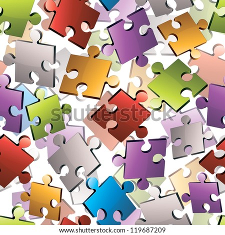 Puzzle pieces seamless background. - stock vector