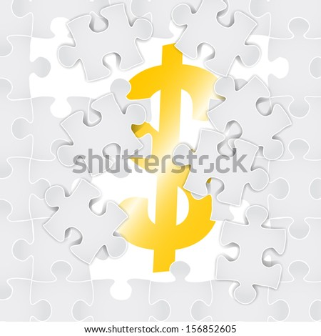 puzzle pieces that form the symbol of dollar - stock vector