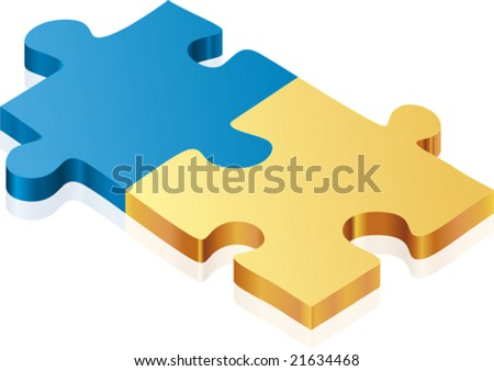 Puzzle pieces (vector). CMYK mode. Global colors. Easy color changes. - stock vector