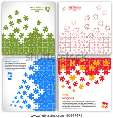 Puzzle pieces vector design set - stock vector