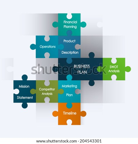 Puzzle pieces with business plan design,idea planning.Infographics operation planning - stock vector