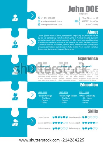 Puzzle resume design in turquoise and white colors - stock vector