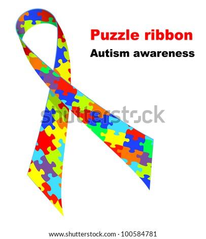 Puzzle Ribbon Autism Awareness Symbol Vector Stock Vector 100584781