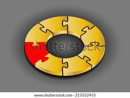 Puzzle ring 3D. Innovation concept - Stock Image - stock vector