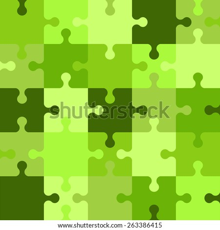 Puzzle seamless pattern. Green abstract background. Vector illustration. - stock vector