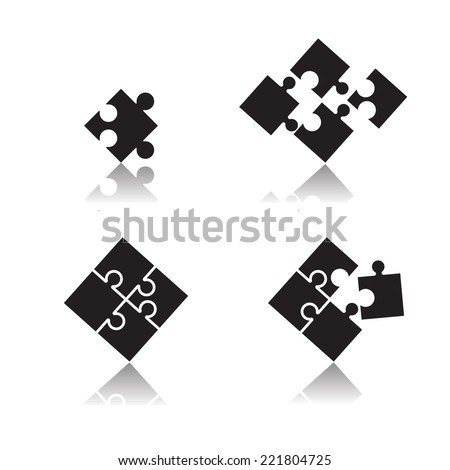 puzzle set - stock vector