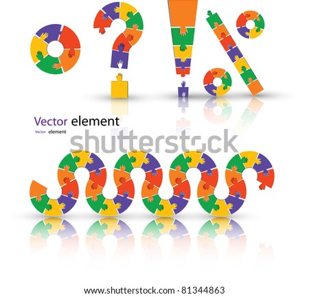 puzzle set color vector illustration