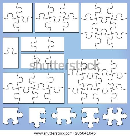 Puzzle set: 1, 2, 3, 4, 6, 8, 9, 12 pieces - stock vector