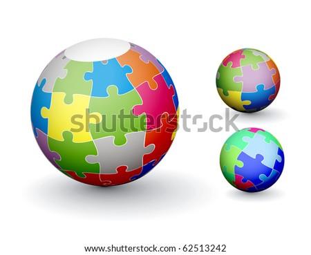 Puzzle sphere design set, vector illustration - stock vector