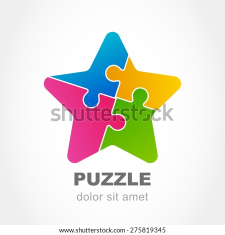 Puzzle star multicolor icon. Vector logo design template. Modern flat concept for business, logic, development, game, teamwork. - stock vector