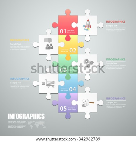 Puzzle 5 steps infographic template. can be used for workflow layout, diagram, number options, progress, timeline - stock vector