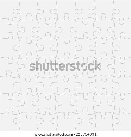 Puzzle template with forty nine details - stock vector