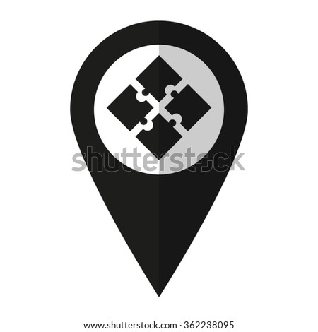 puzzle - vector icon;  black map pointer - stock vector