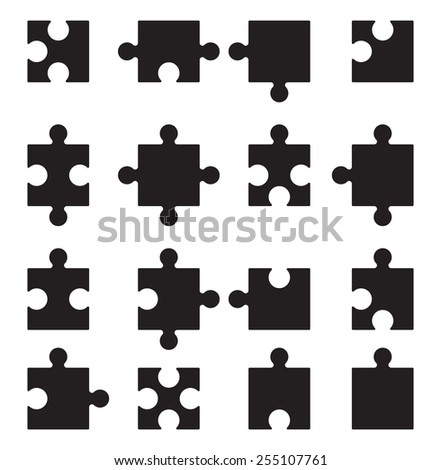Puzzle vector icons set - stock vector