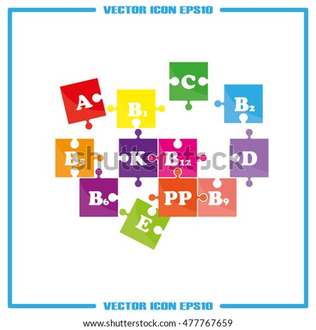 puzzle vitamins icon vector