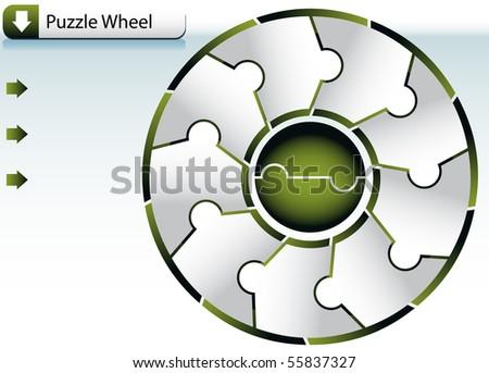 Puzzle Wheel Chart - stock vector