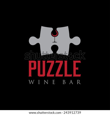 puzzle wine bar negative space concept - stock vector