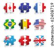 Puzzle with different flags - stock photo