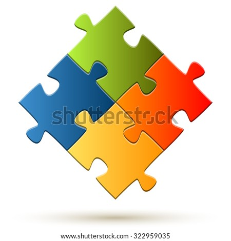 puzzle with four colored parts symbolizing teamwork - stock vector