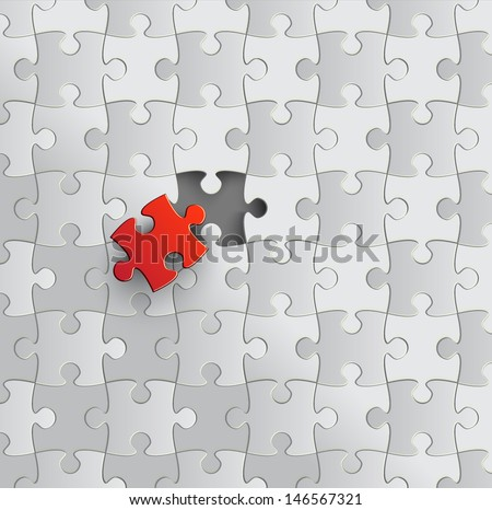 Puzzle with missing piece. Vector.  - stock vector