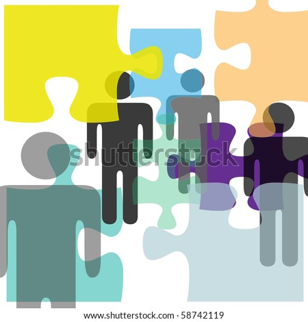 Puzzled people as problem confusion symbols in mental health psychology complexity abstract background. - stock vector