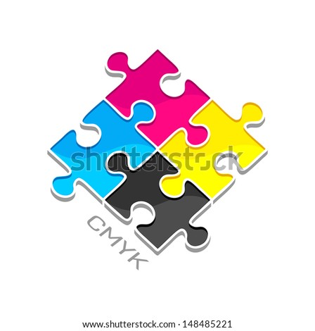 Puzzles. Four color ink for printing - stock vector