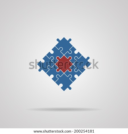 Puzzles piece icon , vector illustration.  - stock vector