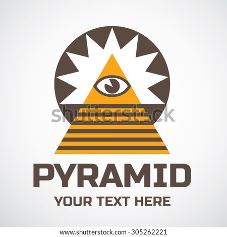 Pyramid and Eye Of Providence logo template - stock vector