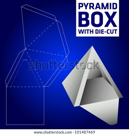 Pyramid box vector die-cut - stock vector