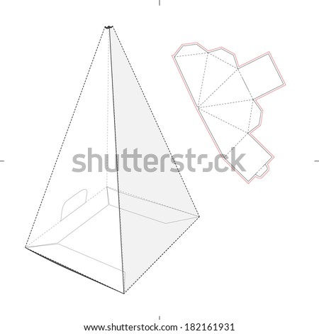 Pyramid box with Die-cut Pattern - stock vector