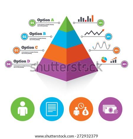 Pyramid chart template. Bank loans icons. Cash money bag symbol. Apply for credit sign. Fill document and get cash money. Infographic progress diagram. Vector - stock vector