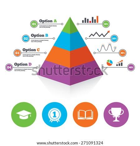 Pyramid chart template graduation icons graduation stock vector pyramid chart template graduation icons graduation student cap sign education book symbol ccuart Images