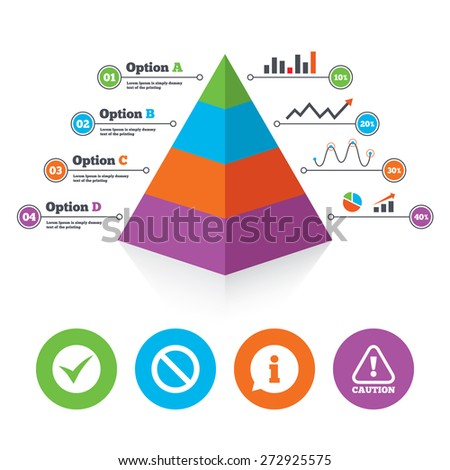 Pyramid chart template. Information icons. Stop prohibition and attention caution signs. Approved check mark symbol. Infographic progress diagram. Vector - stock vector