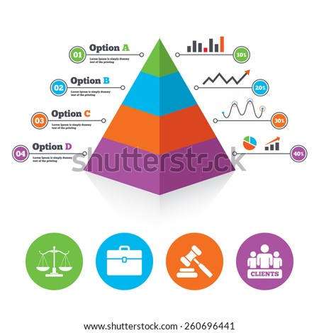 Pyramid chart template. Scales of Justice icon. Group of clients symbol. Auction hammer sign. Law judge gavel. Court of law. Infographic progress diagram. Vector - stock vector