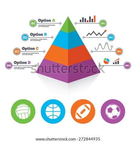 Pyramid chart template. Sport balls icons. Volleyball, Basketball, Soccer and American football signs. Team sport games. Infographic progress diagram. Vector - stock vector