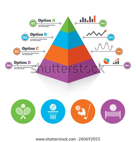 Pyramid chart template. Tennis rackets with ball. Basketball basket. Volleyball net with ball. Golf fireball sign. Sport icons. Infographic progress diagram. Vector - stock vector