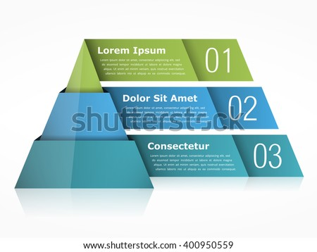 Pyramid chart with three elements, vector eps10 illustration - stock vector