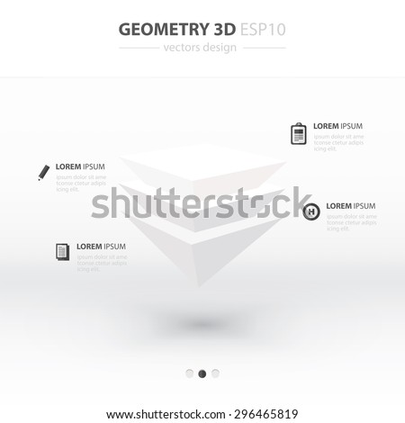 Pyramid  Geometry Abstract 3D Infographic And Icons Design white Color Style. - stock vector