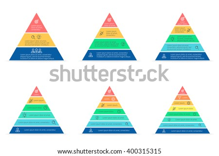 Pyramid infographic. Triangle chart, diagram, scheme, graph with 3, 4, 5, 6, 7, 8 steps, options, parts, processes. Business strategy, success. Vector design element. - stock vector