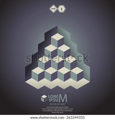 Pyramid logotype, icon. Vector illustration - stock vector