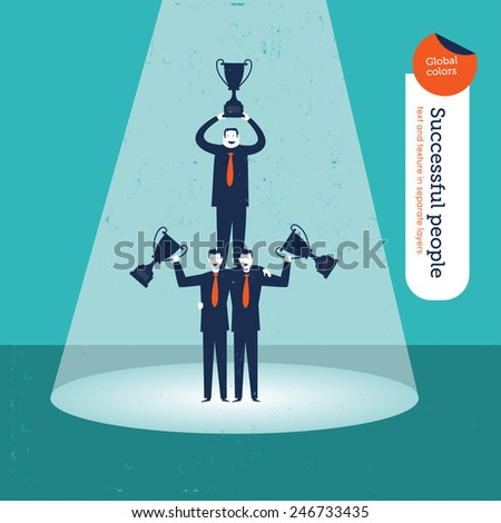 Pyramid of businessmen with trophies. Vector illustration Eps10 file. Global colors. Text and Texture in separate layers. - stock vector