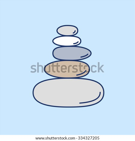 Pyramid of the balancing stones colored linear icon on blue background | flat design alternative healing illustration and infographic - stock vector