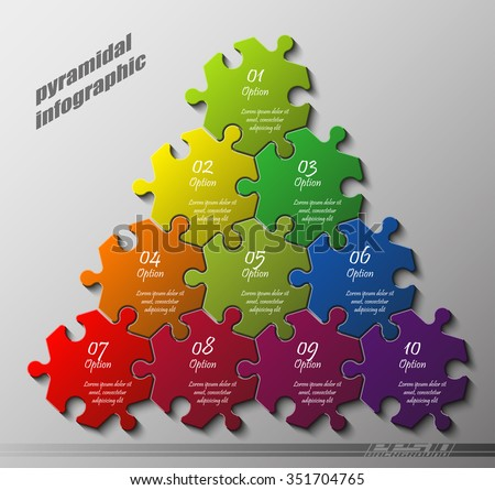 pyramid puzzle presentation infographic template with explanatory text field for business statistics illustration - stock vector