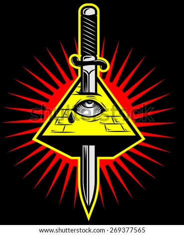 Pyramid with eye killed by sword. New world order. Masonic symbol. Mystic sign. all seeing eye vector - stock vector