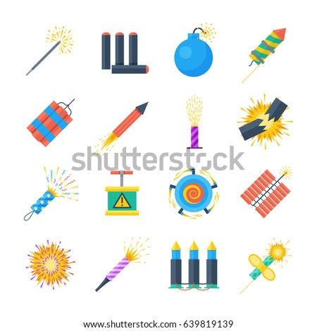 Pyrotechnics vector set of icons in a flat style. Festival petards, fireworks, crackers, sparklers on a white background. Holiday pyrotechnic explosions and claps.
