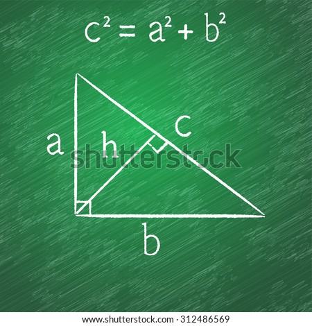 Pythagorean proposition on blackboard, right triangle, chalk stained, 2d vector, eps 10. Texture on a separate layer