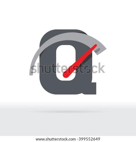 Q Letter Car Speedometer, B Letter Meter Logo - stock vector