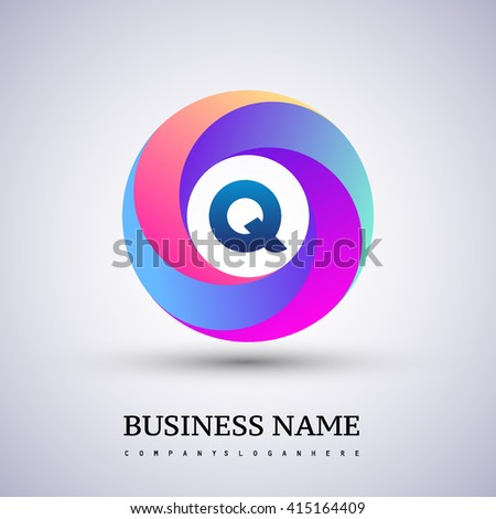 Q letter colorful logo in the circle. Vector design template elements for your application or company identity.
